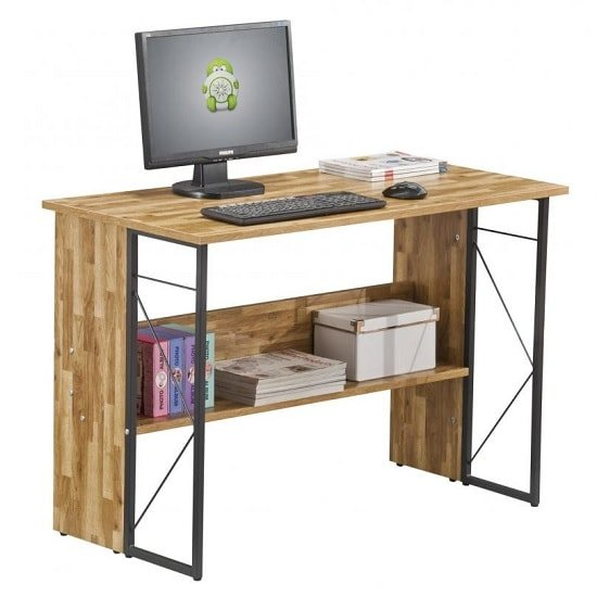 Alameda Computer Desk In Walnut With Grey Steel Frame_1