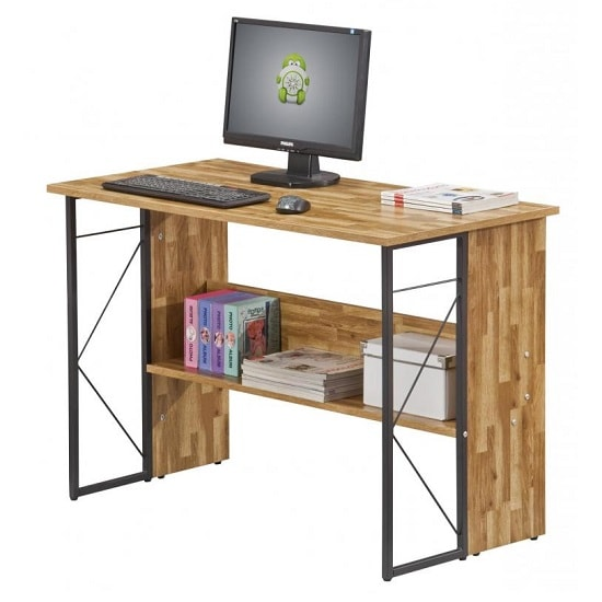 Alameda Computer Desk In Walnut With Grey Steel Frame_3