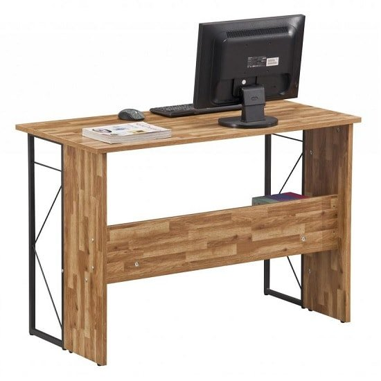Alameda Computer Desk In Walnut With Grey Steel Frame_4