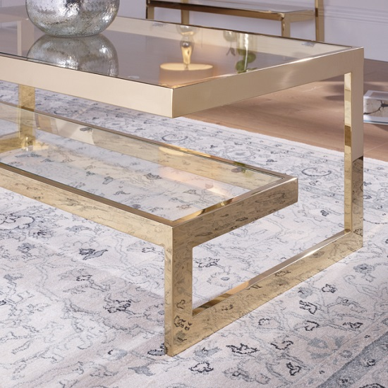 Alana Glass Coffee Table Rectangular In Clear With Gold Frame_2