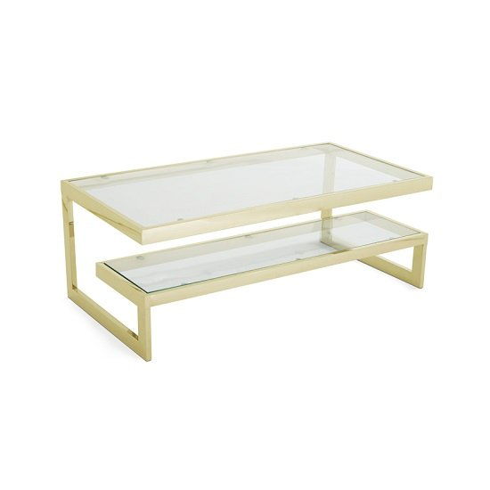 Alana Glass Coffee Table Rectangular In Clear With Gold Frame_3