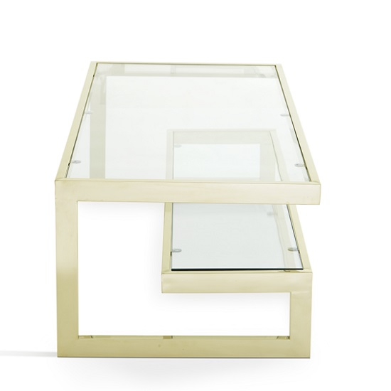 Alana Glass Coffee Table Rectangular In Clear With Gold Frame_4