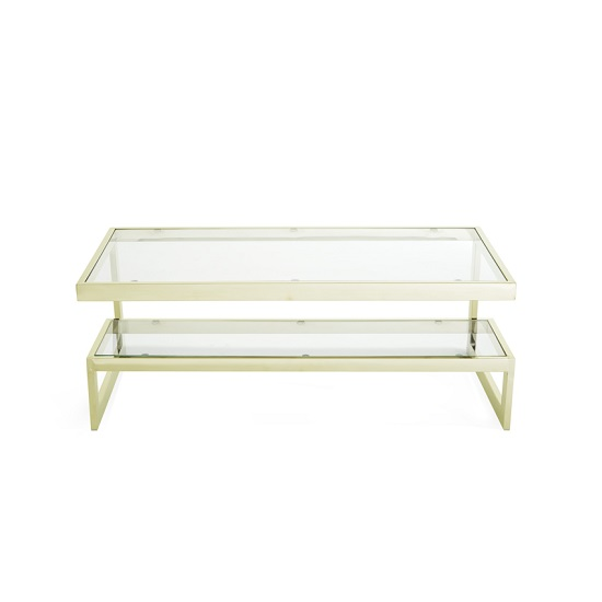 Alana Glass Coffee Table Rectangular In Clear With Gold Frame_5