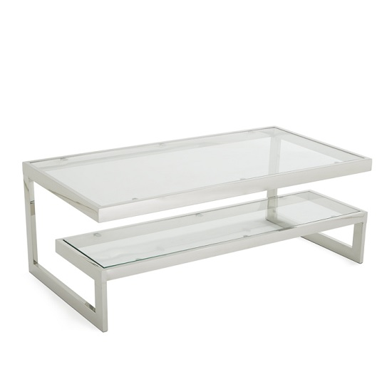 Alana glass coffee table with polished stainless steel frame for Metal frame glass coffee table