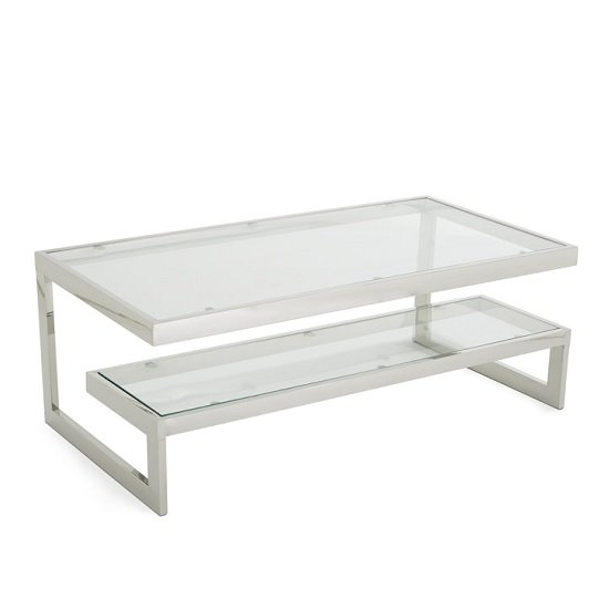Alana Glass Coffee Table With Polished Stainless Steel Frame_1