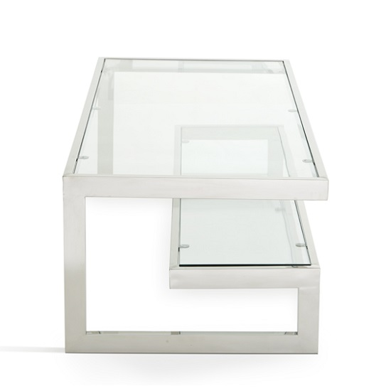 Alana Glass Coffee Table With Polished Stainless Steel Frame_2
