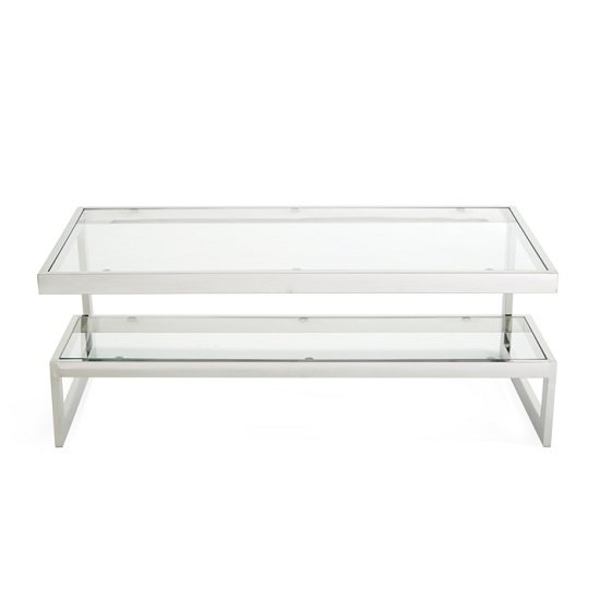 Alana Glass Coffee Table With Polished Stainless Steel Frame_4