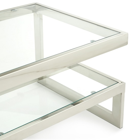 Alana Glass Coffee Table With Polished Stainless Steel Frame_3