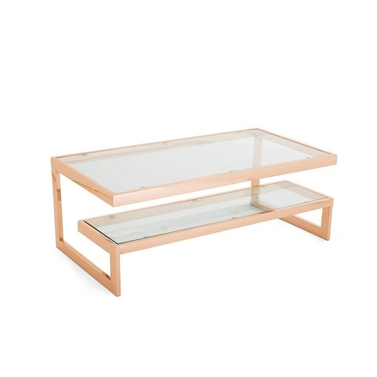 Alana Glass Coffee Table In Clear With Rosegold Base Frame