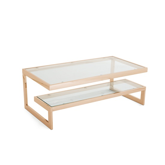 Alana Glass Coffee Table In Clear With Rodegold Base Frame