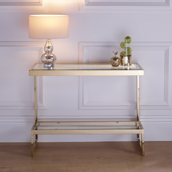 Alana Glass Console Table Rectangular In Clear With Gold Frame_1