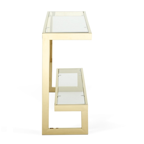 Alana Glass Console Table Rectangular In Clear With Gold Frame_3