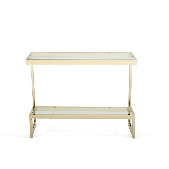 Alana Glass Console Table Rectangular In Clear With Gold Frame_4