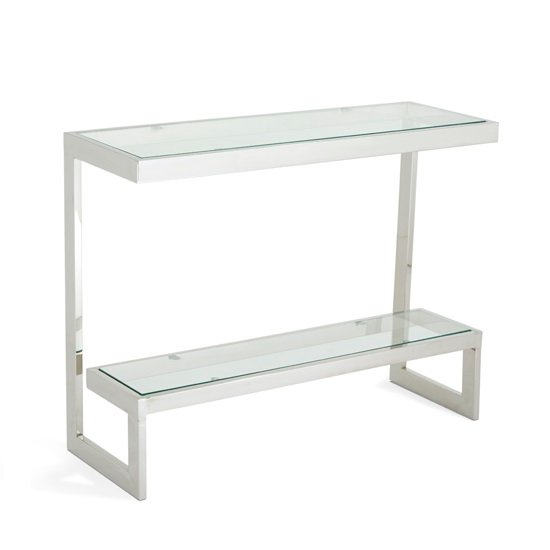 Alana Glass Console Table With Polished Stainless Steel Frame