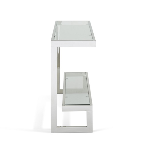 Alana Glass Console Table With Polished Stainless Steel Frame_2
