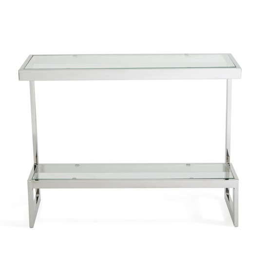 Alana Glass Console Table With Polished Stainless Steel Frame_3