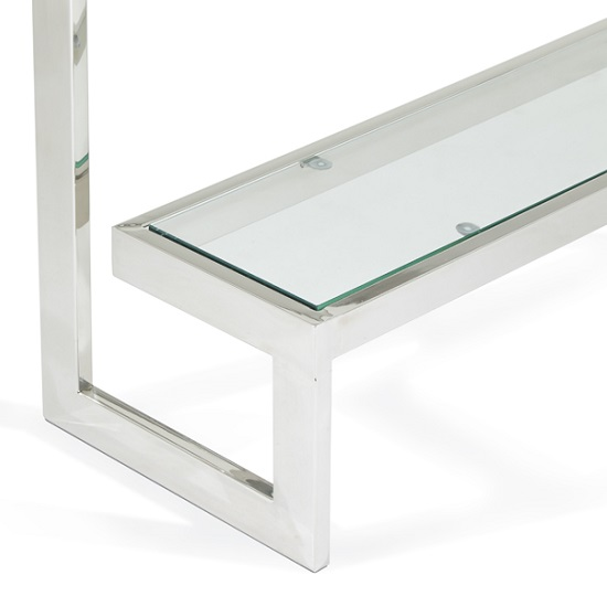 Alana Glass Console Table With Polished Stainless Steel Frame_4