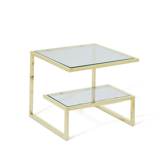 Alana Glass Lamp Table Square In Clear With Gold Frame