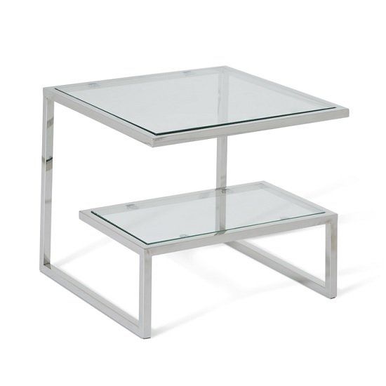 Alana Glass Lamp Table With Polished Stainless Steel Frame_1