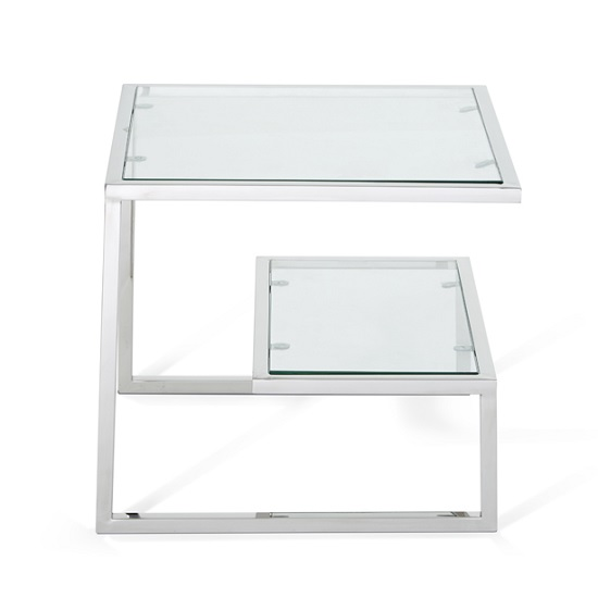 Alana Glass Lamp Table With Polished Stainless Steel Frame_2