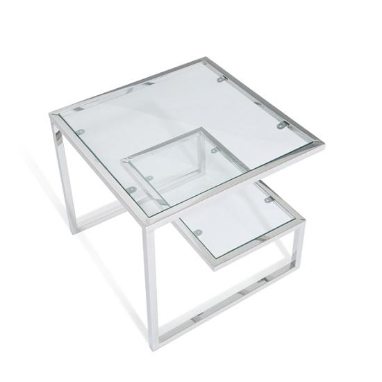 Alana Glass Lamp Table With Polished Stainless Steel Frame_4