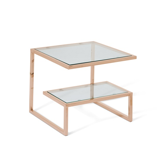 Alana Glass Lamp Table Square In Clear With Rodegold Base Frame