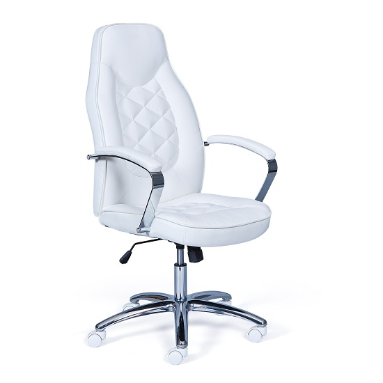 Read more about Alana home office chair in white faux leather and chrome