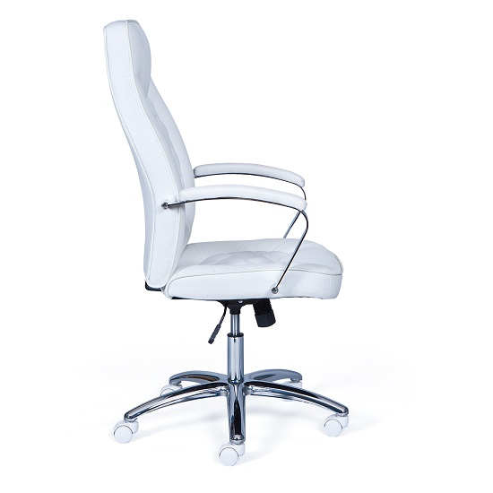 Alana Home Office Chair In White Faux Leather And Chrome_2