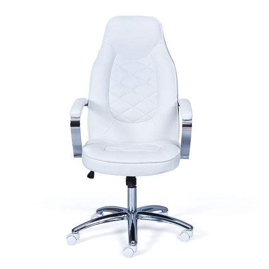 Alana Home Office Chair In White Faux Leather And Chrome_4