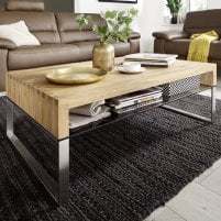 Alana Rectangular Coffee Table In Knotty Oak With Metal Legs