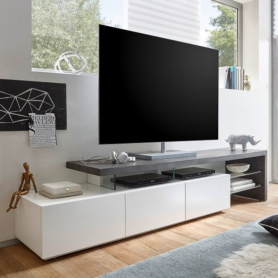 alanis modern tv stand in concrete and matt white with. Black Bedroom Furniture Sets. Home Design Ideas