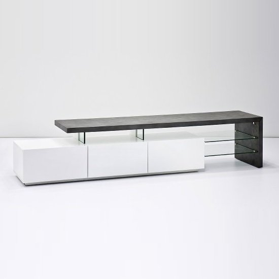 Alanis Modern TV Stand In Concrete And Matt White With Storage_2