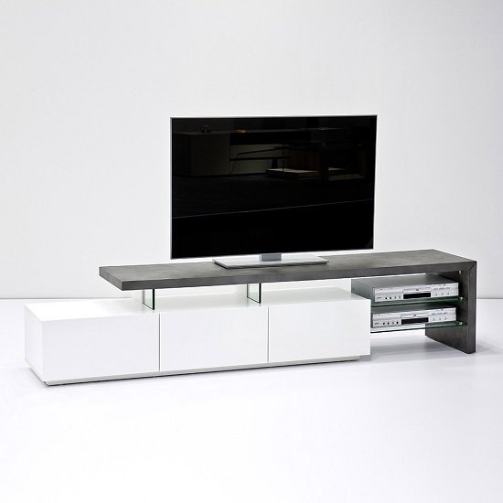 Alanis Modern TV Stand In Concrete And Matt White With Storage_3