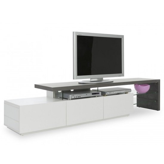 Alanis Modern TV Stand In Concrete And Matt White With Storage_5