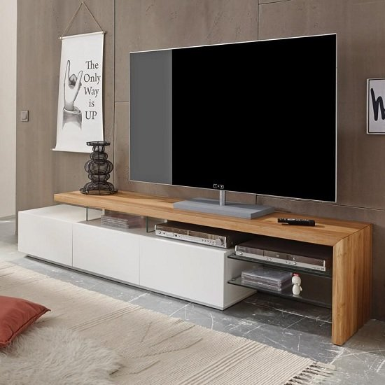 Alanis Modern Tv Stand In Knotty Oak And Matt White With