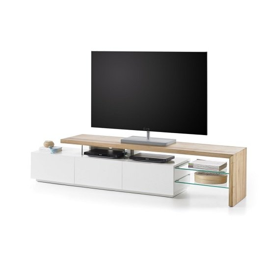 alanis modern tv stand in knotty oak and matt white with. Black Bedroom Furniture Sets. Home Design Ideas