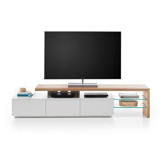 Alanis Modern TV Stand In Knotty Oak And Matt White With Storage_4