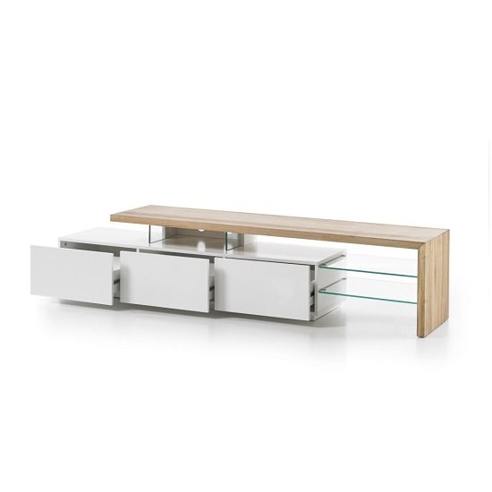 Alanis Modern TV Stand In Knotty Oak And Matt White With Storage_2
