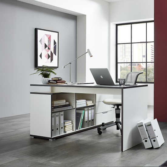 Alantra Wooden Corner Computer Desk In White With Storage