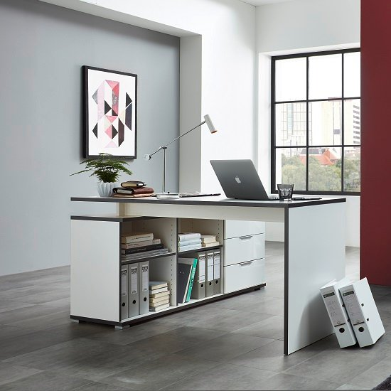 alantra wooden corner computer desk in white with storage. Black Bedroom Furniture Sets. Home Design Ideas