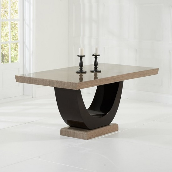 Aloya Marble Dining Table In Light And Dark Brown_1