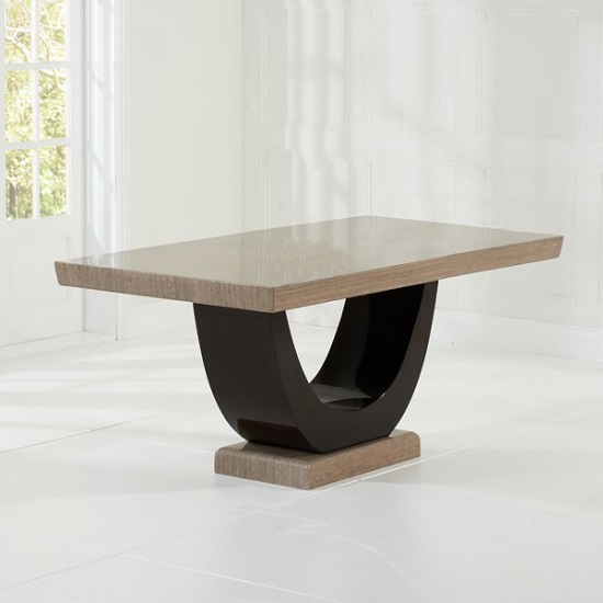 Aloya Marble Dining Table In Light And Dark Brown_2
