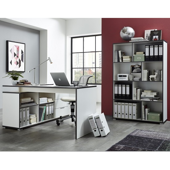 Alantra Wooden Home Office Shelving Unit In White_3