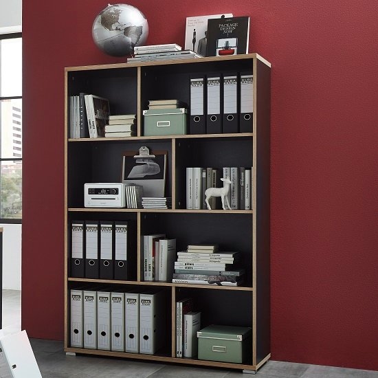 office storage alantra wooden home office shelving unit in anthracite
