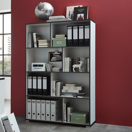 Alantra Wooden Home Office Shelving Unit In White