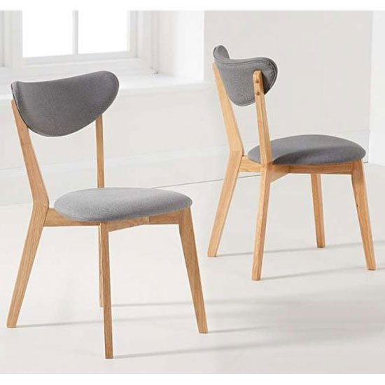 Alaska Grey And Oak Rubberwood Dining Chair In A Pair