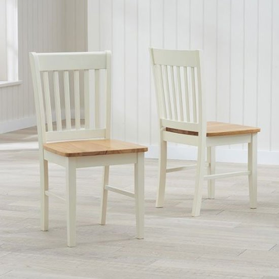 Alaska Oak And Cream Hardwood Dining Chair In A Pair
