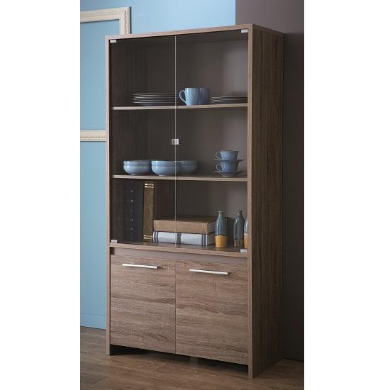 Dark Oak Kitchen Doors: Alaska Wooden Glass Display Cabinet In Dark Oak With 4