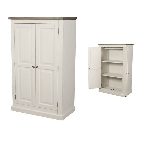 Alaya Compact Wardrobe In Stone White With Two Doors_1
