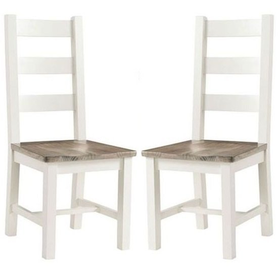 Alaya Ladderback Style Dining Chair In Stone White In A Pair